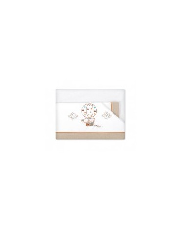 Tríptico sabanas 120x60 globo beige Pirulos