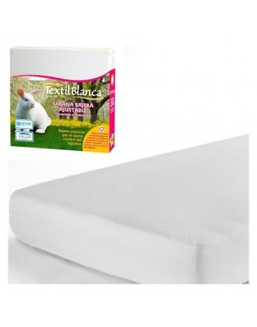 Sábana Bajera Ajustable Impermeable de Textil Blanca