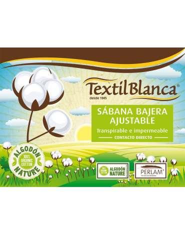 Sábana Bajera Ajustable Impermeable Algodón Orgánico Textil Blanca